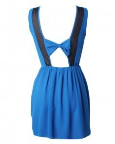 LOVE COBALT CHIFFON BOW BACK DRESS