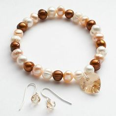 Silver Tone Dyed Freshwater Cultured Pearl & Crystal Heart Charm Stretch Bracelet & Drop Earring Set