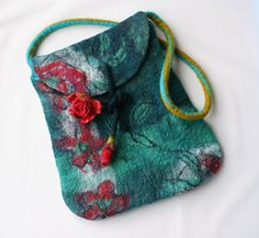 Hand Felted Purse Bag  Roses & Flowers ★by FrouFrouFelt on Etsy