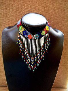 Zulu beaded choker chandeliers necklace by ZuluBeads on Etsy African Necklace, Beaded Choker Necklace, Fringe Necklace, African Beads, African Jewelry, Earrings, Beaded Jewelry Patterns, Bracelet Patterns, Beaded Bracelets