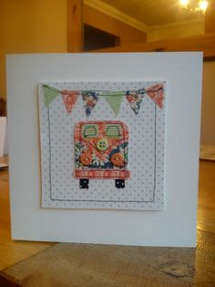 Hand made, stitched fabric camper van card