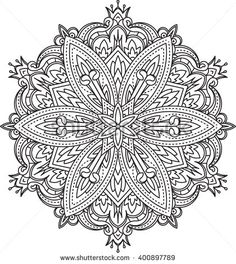 Abstract vector black round lace design in mono line style - mandala, ethnic…