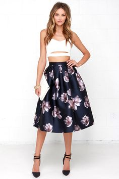 Fallen Petal Navy Blue Floral Print Midi Skirt at Lulus.com!
