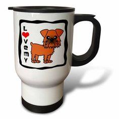 3dRose I Love My Brussels Griffon Brown, Travel Mug, 14oz, Stainless Steel