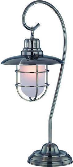 0-003680>1-Light Metal Lantern Table Lamp Antique Bronze