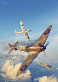Commisioned illustration for Battle of Britain Combat Archive Vol. 2 by Simon Parry. 3D model by Marek Ryś (Spitfire) and Wojciech Kliment Niewęgłowski (Messerschmitt). Scene, textures and illustration by Piotr Forkasiewicz.