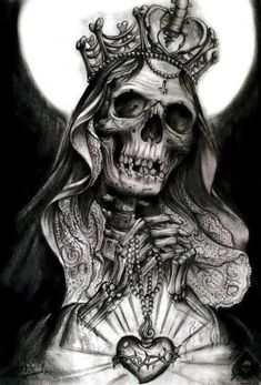 tat idea muerte tatting, santa muerte and tattoo - santa muerte sketch Chicano Tattoos, Skull Tattoos, Body Art Tattoos, Sleeve Tattoos, Evil Skull Tattoo, Skull Girl Tattoo, Skull Tattoo Design, Skull Design, Tattoo Sketches