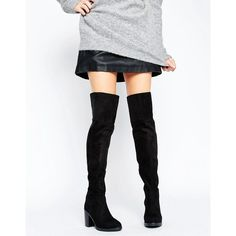 Public Desire Lisa Block Heeled Over The Knee Boots ($66) ❤ liked on Polyvore featuring shoes, boots, black, black thigh high boots, black over the knee high heel boots, over knee boots, black over the knee boots and over the knee boots