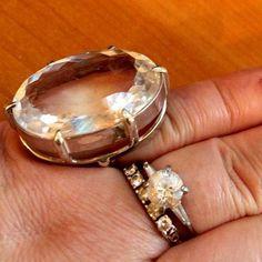 Кольцо стерлинг серебро горный хрусталь paste 138 карат шикарно