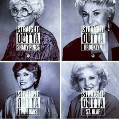 """""""One of my favourite TV shows, """"The Golden Girls""""! My favourite characters are Sophia Petrillo and Dorothy Zbornak (Top left +top right pictures).…"""""""
