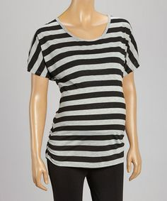 Loving this Black & Gray Stripe Ruched Maternity Tee - Women on #zulily! #zulilyfinds