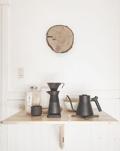 My pour over coffee station in a minimalist kitchen.