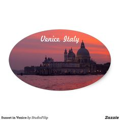 Sunset in Venice Oval Sticker