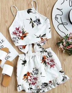 women set on sale at reasonable prices, buy SHEIN Two Piece Set Top and Shorts Summer 2017 Womens Set White Floral Sleeveless Tie Back Cami Top and Ruffle Trim Shorts from mobile site on Aliexpress Now! Style Outfits, Mode Outfits, Casual Outfits, Fashion Outfits, Womens Fashion, Cami Tops, Cute Summer Outfits, Spring Outfits, Two Piece Outfit