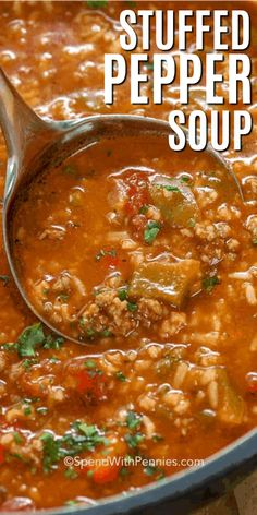 Stuffed Pepper Soup is an easy soup recipe. In this family favorite, ground beef and sausage is simmered along with bell peppers, tomatoes and seasonings. Add in rice to serve. It freezes well and reheats beautifully! recipes with ground beef Crock Pot Recipes, Best Soup Recipes, Cooker Recipes, Dinner Recipes, Easy Recipes, Beef Broth Soup Recipes, Healthy Recipes, Hearty Soup Recipes, Salad Recipes