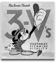 "Vintage Victory Garden Poster: Mickey Mouse's ""3-V's Vegetables, Vitamins, Vitality"""