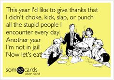 This year I'd like to give thanks that I didn't choke, kick, slap, or punch all the stupid people I encounter every day. Another year I'm not in jail! Now let's eat!