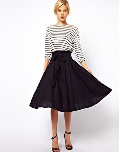Enlarge ASOS Linen Midi Skirt with Belt  same skirt as yellow but the navy is so cute!!
