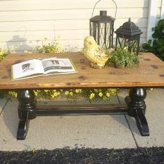 Black reclaimed Wood Coffee Table  www.facebook.com/rockinitreclaimed
