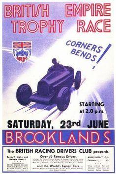 Brooklands British Empire Trophy Race Motor Racing Poster A3 Reprint