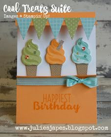 card ice cream cone icecream SU Cool treats Happiest Birthday Julie Kettlewell - Stampin Up UK Independent Demonstrator Cool Treats Ice Cream Stand Ice Cream Stand, Coffee Cards, Scrapbook Cards, Scrapbooking, Recipe Cards, Kids Cards, Stampin Up Cards, Making Ideas, Cardmaking