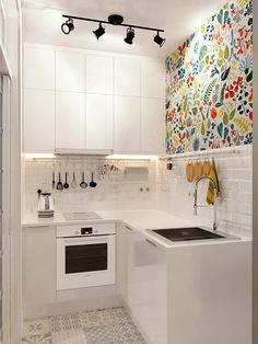 Modern Kitchen Injecting Color Into A Tiny White Space More - Don't feel limited by a small kitchen space. Here are fifty designs for smaller kitchen spaces to inspire you to make the most of your own tiny kitchen. Bright Kitchens, Cool Kitchens, Tiny Kitchens, Industrial Kitchens, White Kitchens, Bright Kitchen Colors, Bright Colors, Tiny Spaces, Small Apartments