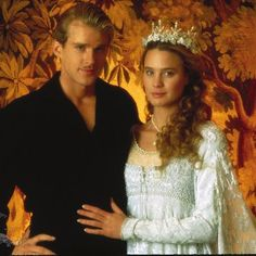 "Princess Buttercup (Robin Wright, before she added ""Penn"") and Westley (Cary Elwes). ""The Princess Bride"", Gown designed by Phyllis Dalton. From ""The Top 20 Movie Wedding Gowns"". Robin Wright, Movie Wedding Dresses, Wedding Movies, Wedding Gowns, Bride Gowns, Iconic Movies, Great Movies, Classic Movies, Amazing Movies"