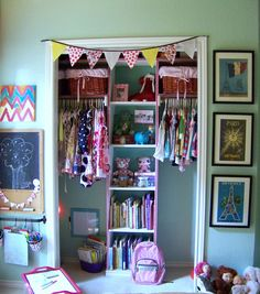 Idea for #closet #organization in baby #girl #nursery . There's actually a little #nook in the closet she can play in & love the #art center with #chalkboard and organized art materials.