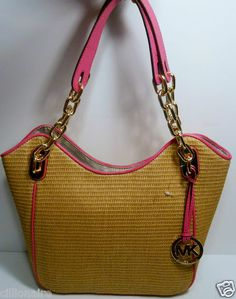 eef516906ffdf9 $90.00 (while stocks last) Michael Kors Michael Kors Lilly Pink Straw Tote  + FREE GIFT