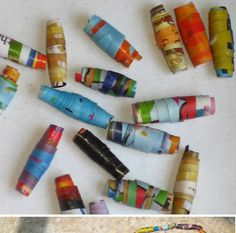 Making recycled beads is so fun. Use old magazines to make these colorful beads and create beautiful necklaces.