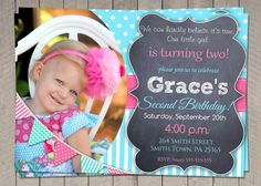 2nd Birthday Invitation Aqua and Hot Pink  by InvitaitonsByLittleP