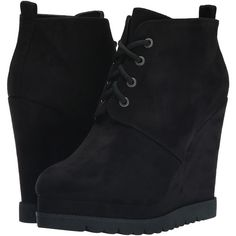 Michael Antonio Camille (Black) Women's Lace-up Boots (50 AUD) ❤ liked on Polyvore featuring shoes, boots, ankle boots, black, platform ankle boots, wedge heel ankle boots, short black boots, black lace up boots and lace up boots