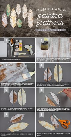 Learn the simple steps to make these gorgeous tissue paper feathers with painted accents. Choose any color palette to match your specific decor.