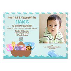 Boys Noah's Ark Birthday Party Invitation