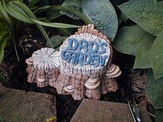 gnomb gardens | Garden Gnome Ceramic Woodland Stump Dad's Garden Statue Matte Glaze