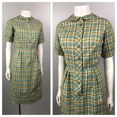 e001bebd6f78 Women s Vintage Clothing · 1960s Dress   Blue and Brown Plaid Checked  Wiggle Dress Short Sleeve   Womens XS