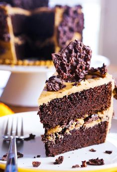 Chocolate Crunch Layer Cake with Caramel Frosting