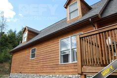 Cedar siding stained with DEFY Extreme Wood Stain cedar tone Wood Siding House, Cedar Siding, Exterior Siding, Outdoor Wood Stain, Outdoor Wood Furniture, Exterior Wood Stain Colors, Best Deck Stain, Mountain Home Exterior, Cedar Homes