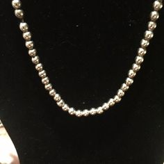 Beautiful sterling silver beaded necklace Sterling silver necklace  hollow round beads beautiful very old with imperfections From early 1900 Jewelry Necklaces