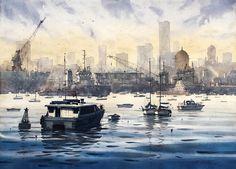 Mumbai Skyline 20'' x 40'' _ Watercolor on Paper _ 2008