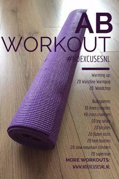 De printbare versie van een intense ab workout. Voor de video kijk op de blog http://www.noexcusesnl.nl/2016/03/een-intense-ab-workout.html