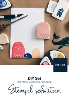 Schnitzt eure eigenen Stempel mit diesem DIY Set – ein perfekter Einstieg in die Welt der Drucktechniken! Alle notwendigen Materialien sind dabei. Material, Diy, Printmaking, Wood Carvings, World, Tutorials, Creative, Bricolage, Do It Yourself