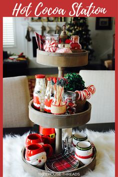 Hot cocoa station perfect for hot chocolate lovers and holiday decor or parties. Christmas festive