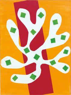 """Fine Art Henri Matisse pochoir print /""""Algue blanche sur fond rouge/"""" Wall Decor"""