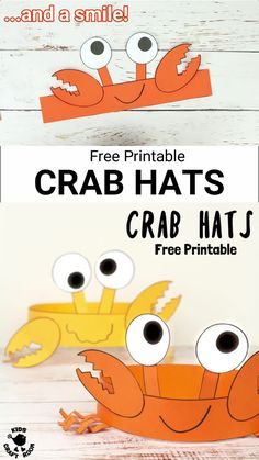 Have fun with Cute Crab Hats! These homemade crab headbands are simply adorable and easy to make with our free printable template. A great Summer craft and ocean craft for kids. Beach Crafts For Kids, Mothers Day Crafts For Kids, Winter Crafts For Kids, Toddler Crafts, Art For Kids, Summer Crafts For Preschoolers, Craft Activities For Kids, Preschool Crafts, Fun Crafts