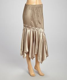Look what I found on #zulily! Taupe Asymmetrical Ruffle Skirt by Young Essence #zulilyfinds