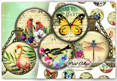 Cabochon images Digital Collage Sheet - Exotic -  1.5 inch 16mm 12mm 1 inch digital download Bottle Cap images printable download c225 - pinned by pin4etsy.com