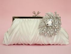 Glamorous Crystal Satin Clutch in Off White / Light Ivory