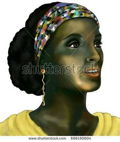 Woman with golden ear ring and colorful clothes. Digital illustration. White background