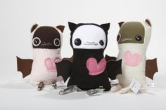 Colourful, quirky and super lovable monsters from Monster Lab, Salt Spring Island, BC Salt Spring Island Bc, Cute Monsters, Mittens, Hello Kitty, Baby Shoes, Artisan, Snoopy, Fabric, Lab